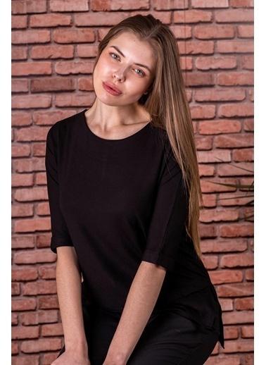 Stamina  Bayan Açık Bisiket Yaka Yarım Kollu Bluz-5VS15 Siyah